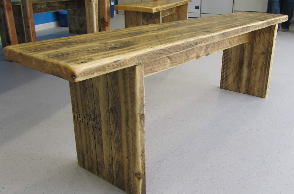 Pine dining table bench made from reclaimed wood