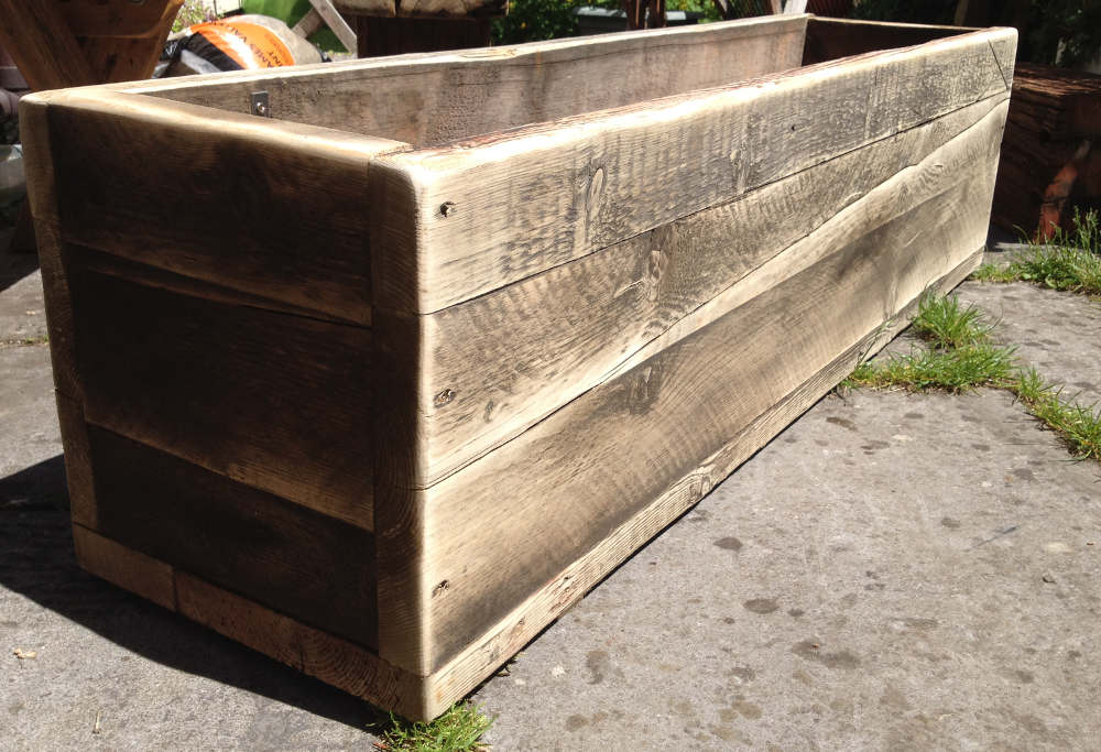 Garden planter made from reclaimed wood