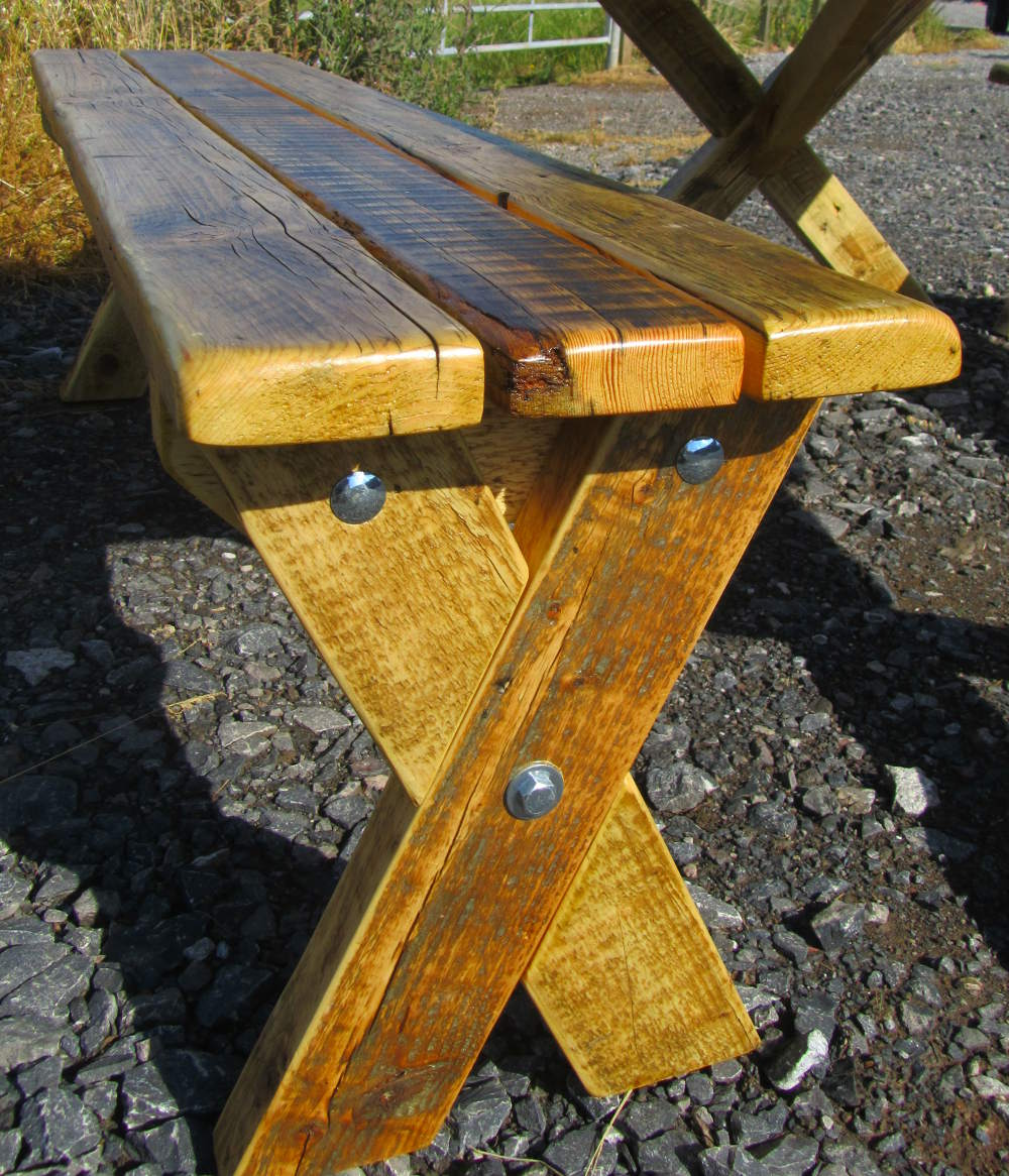 Garden bench made from reclaimed wood