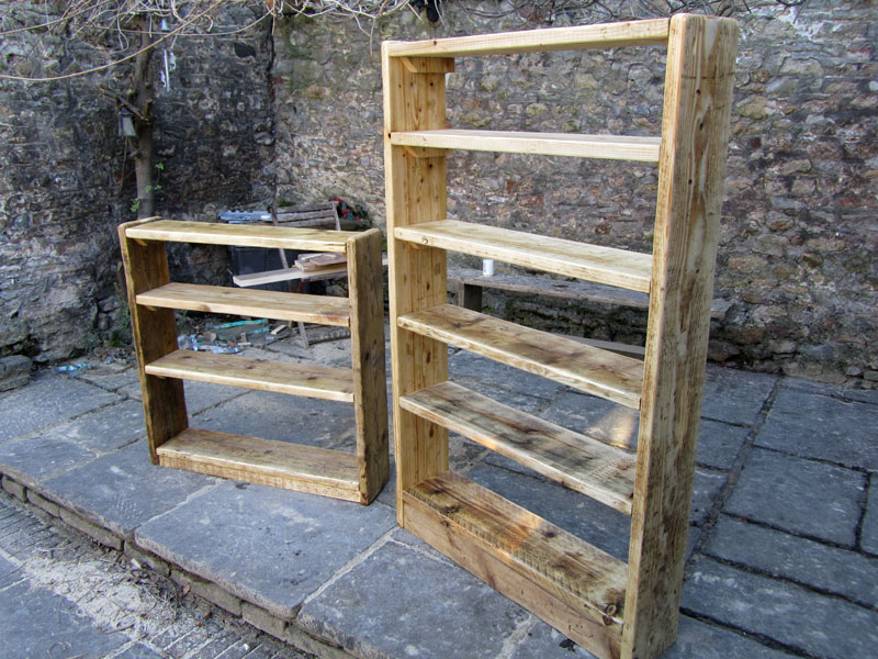 Reclaimed wood bookcases