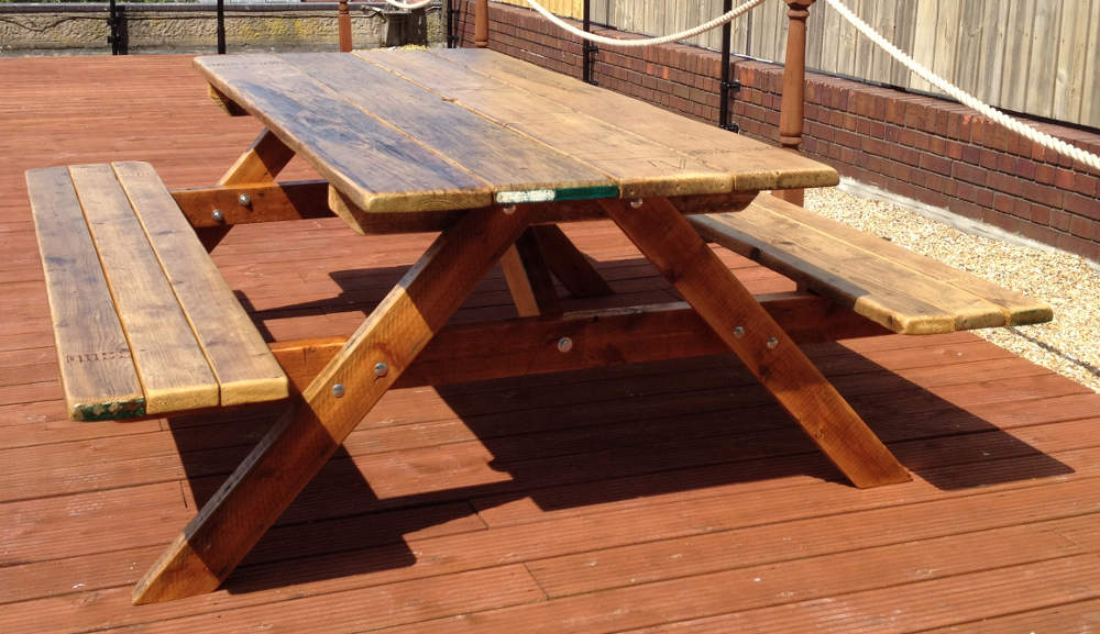 Garden picnic table - heavy duty, made from reclaimed wood