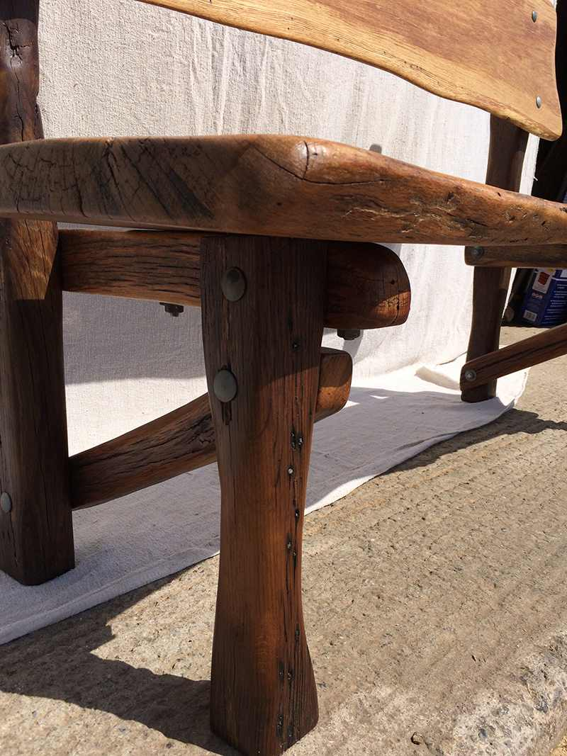 reclaimed wood oak bench