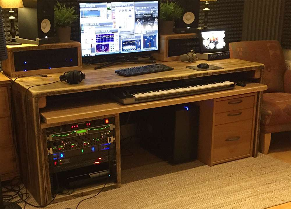 Reclaimed wood music producer desk