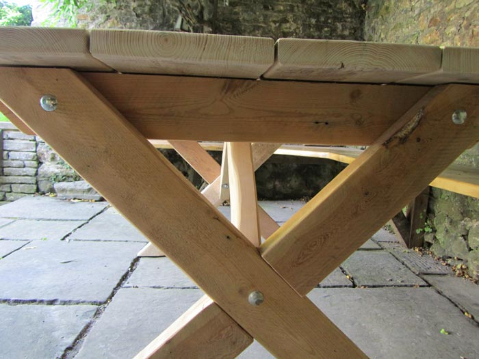 Garden table made from reclaimed wood
