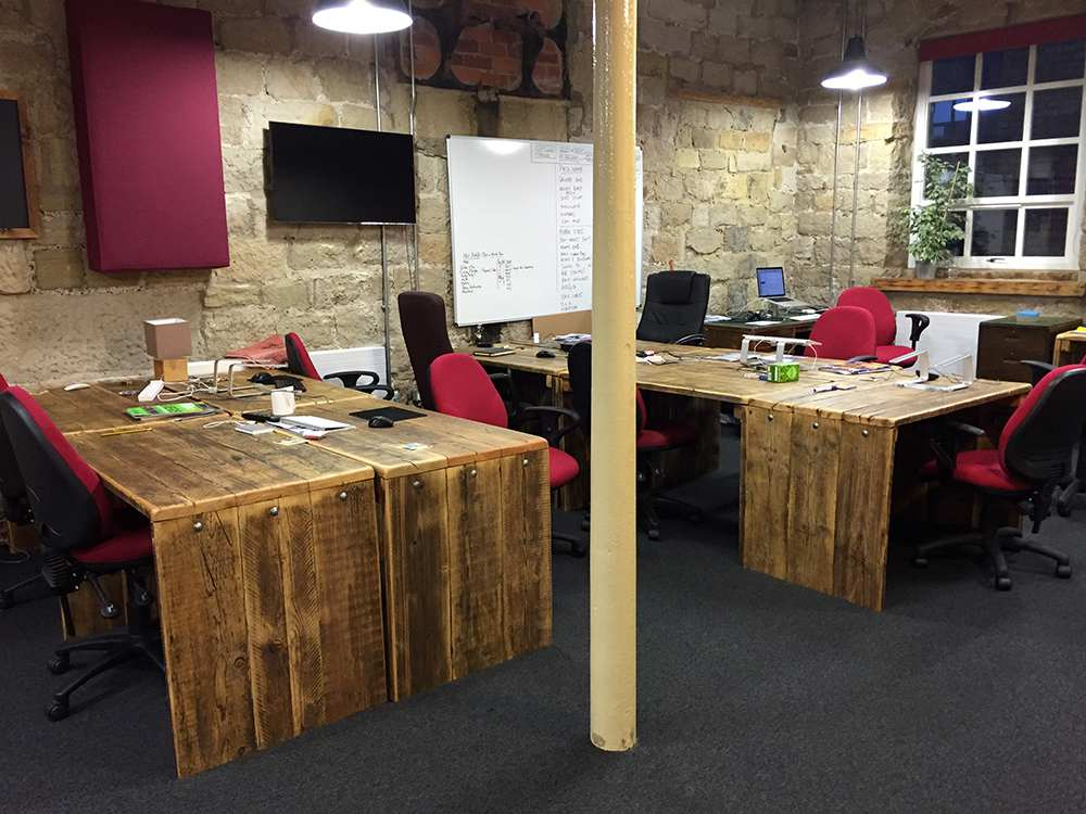 Reclaimed wood commercial office desks