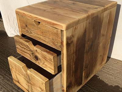 Reclaimed wood filing cabinet