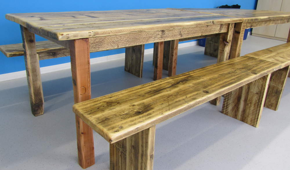 Dining room table and benches