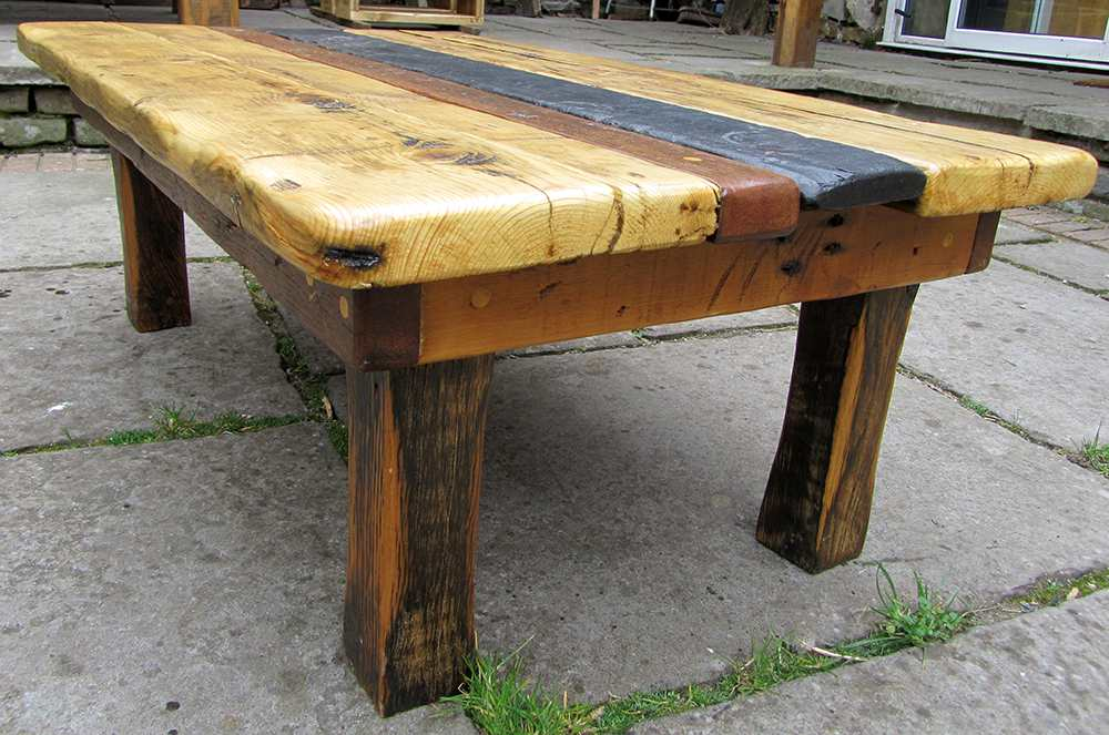 Slate, teak and pine topped coffee table