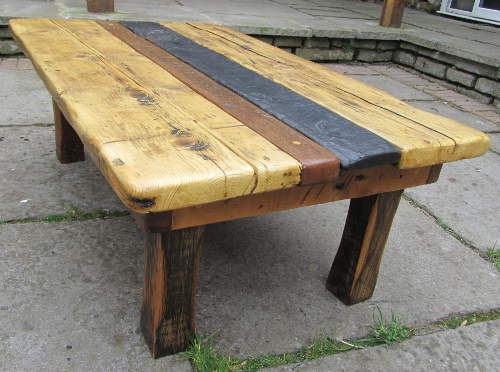 Pine, teak and slate topped coffee table