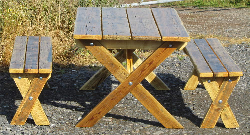 Garden table and two benches made from reclaimed wood