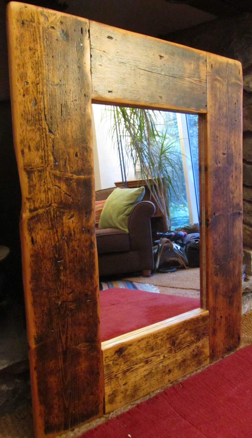 Mirror made from reclaimed floorboards