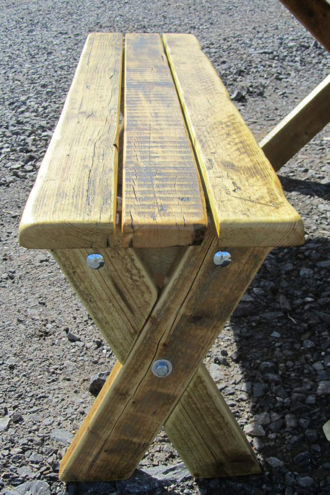 Garden table bench made from reclaimed wood