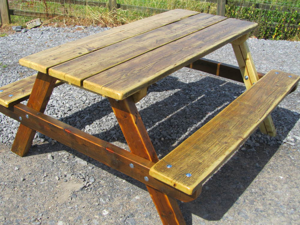 Garden picnic table made from reclaimed wood