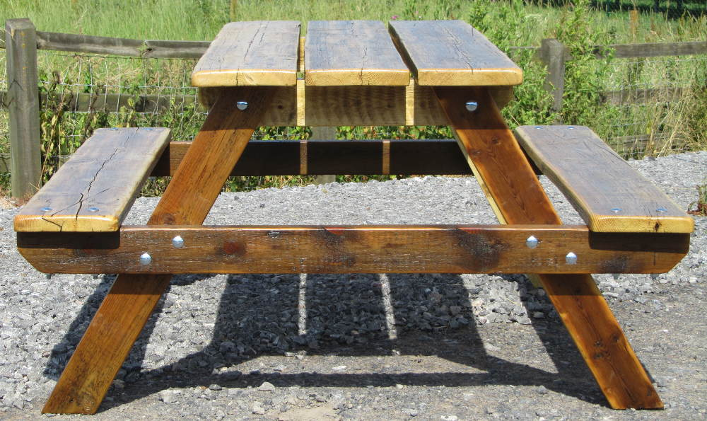 Picnic table made from reclaimed wood