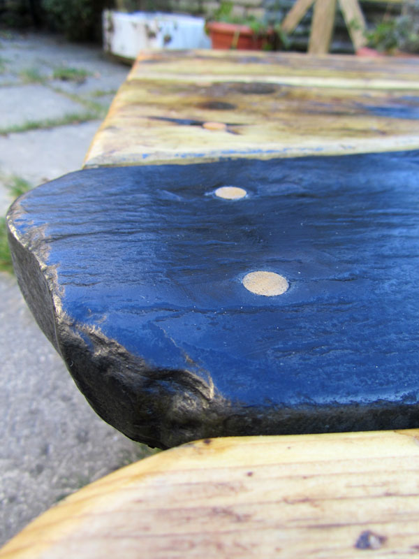 Slate and wood coffee table