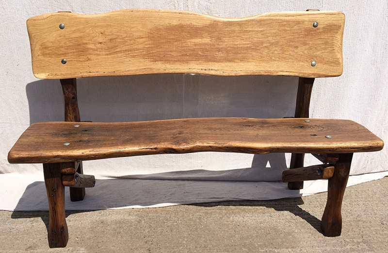Reclaimed wood oak bench