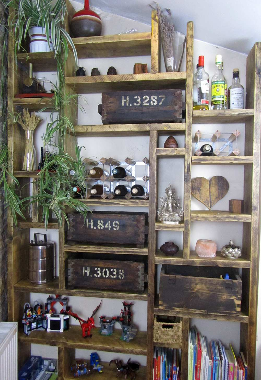 Bespoke shelving solution made from reclaimed wood
