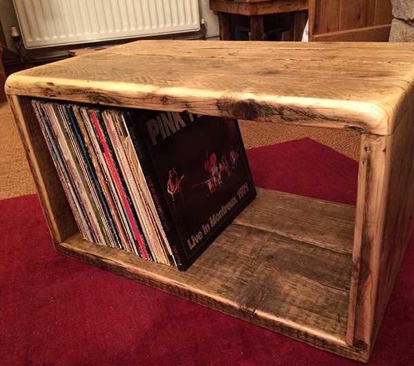 Reclaimed wood vinyl storage