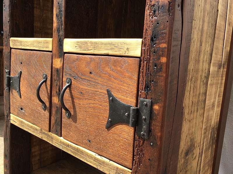Reclaimed wood oak cabinets