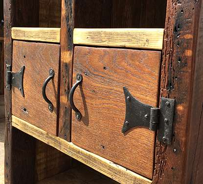 Reclaimed wood oak cabinet